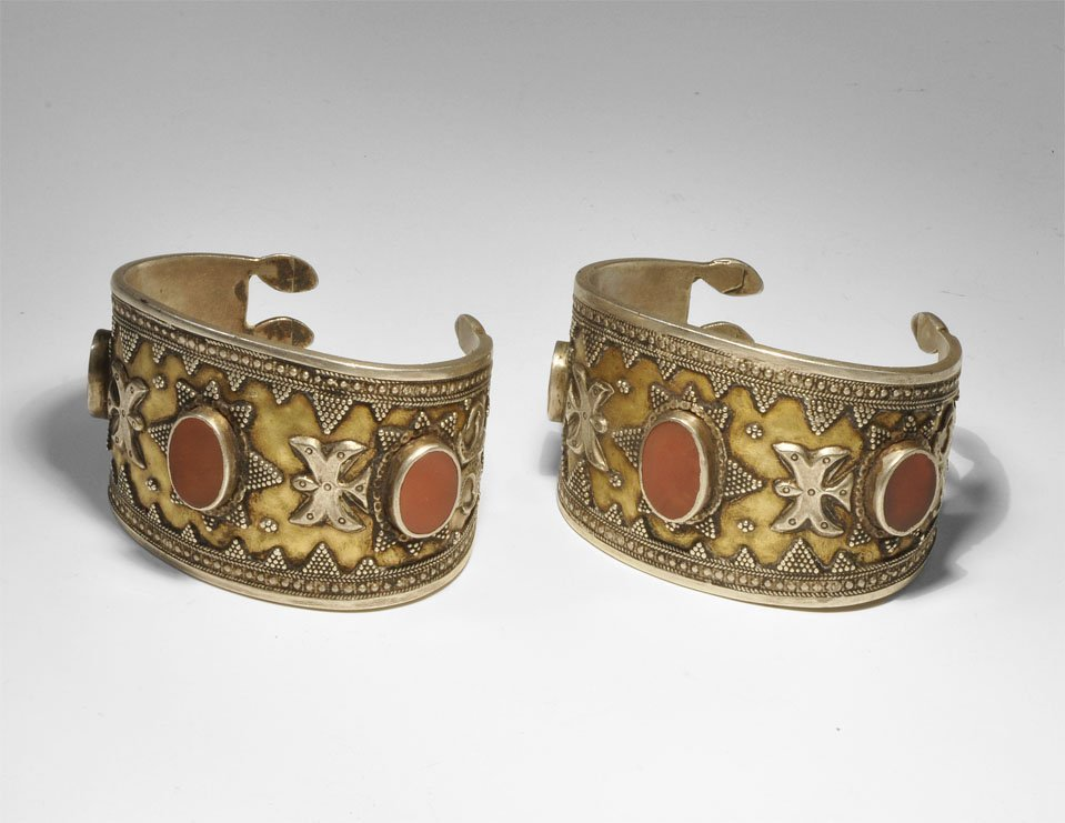 Turkoman White Metal and Carnelian Bracelet Pair