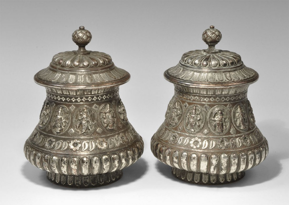 Indian Silver Figural Vessel Pair