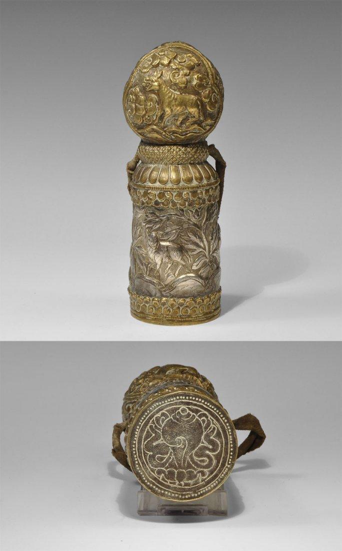 Tibetan Brass and White Metal Columnar Seal