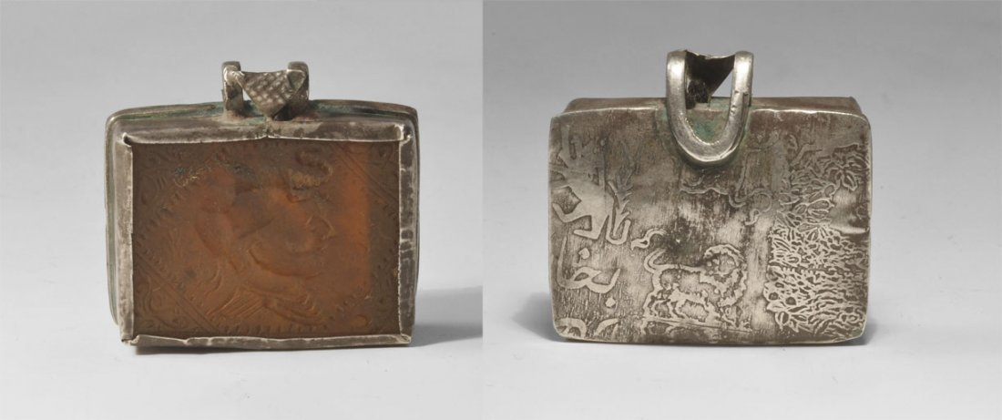 Tibetan Silver Box Pendant with Demetrios I Seal Intagl
