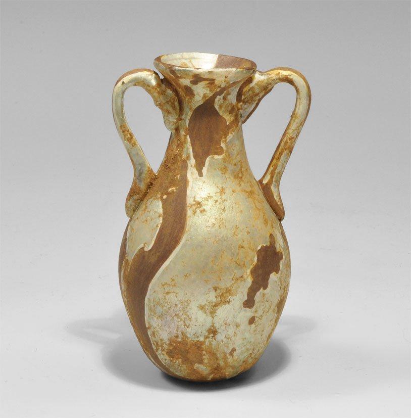 Roman Glass Two-Handled Vessel