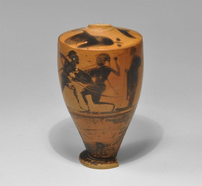 Greek Ceramic Black Figure Warriors Painted Lekythos