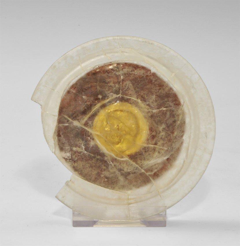 Roman Glass Dish with Gold Insert