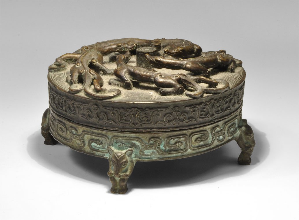 Chinese Bronze Seal Box and Lid