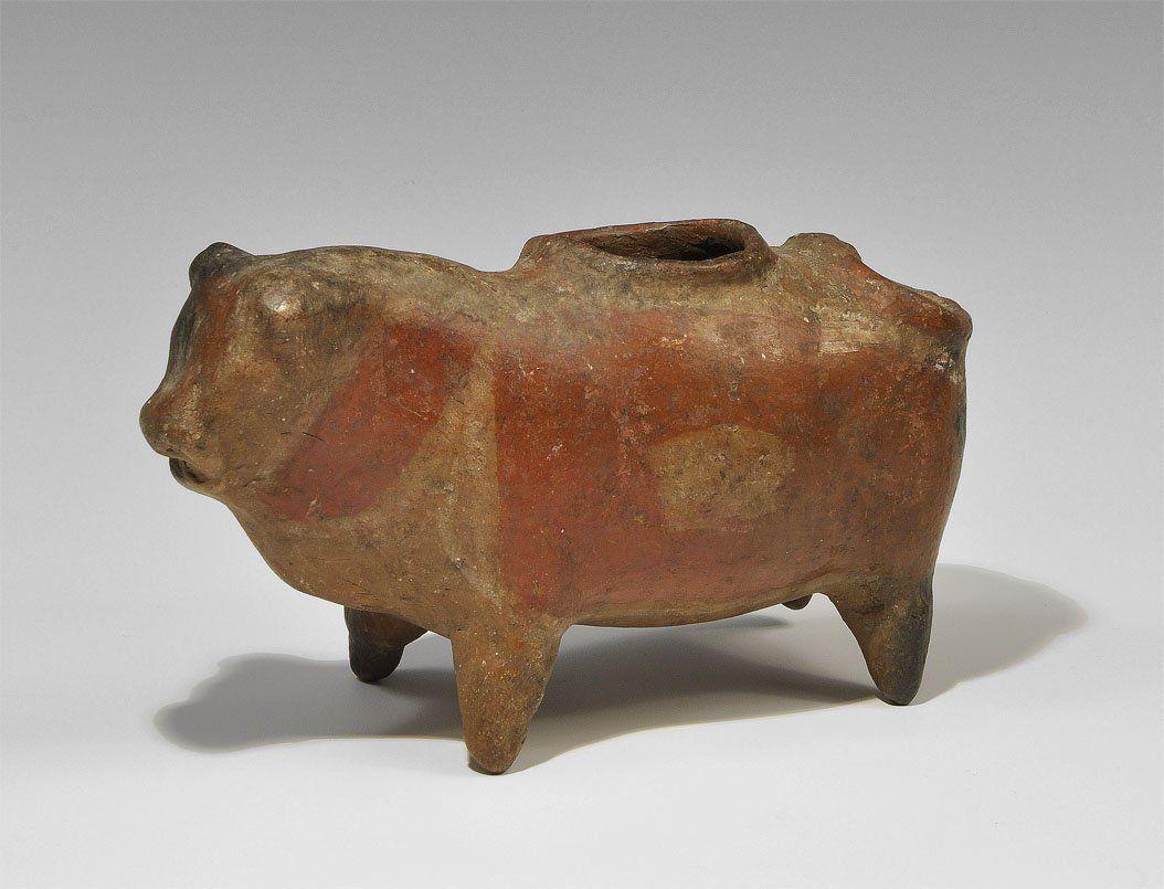 Peruvian Ceramic Bull Figurine