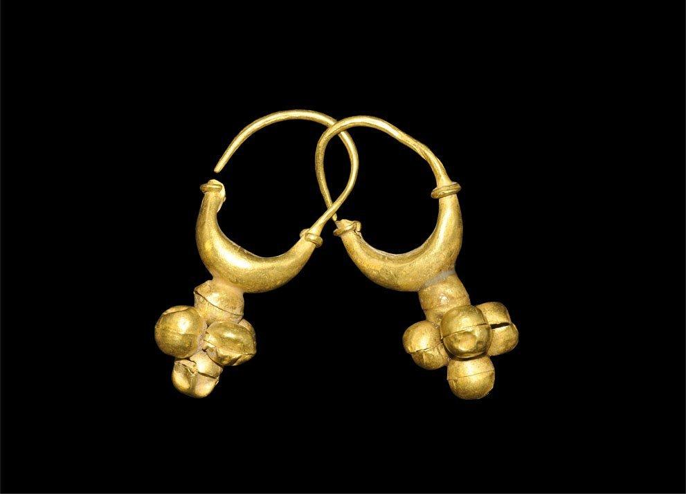 Greek Gold Cluster Earrings