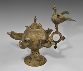 Islamic Brass Calligraphic Multi-Spout Oil Lamp