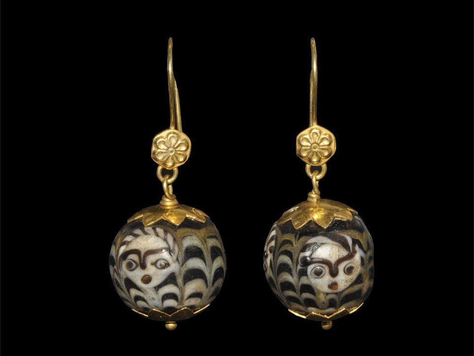 Phoenician Gold-Mounted Glass Figural Earring Pair