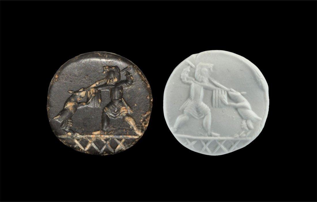 Near Eastern Stone Combat Scene Stamp Seal