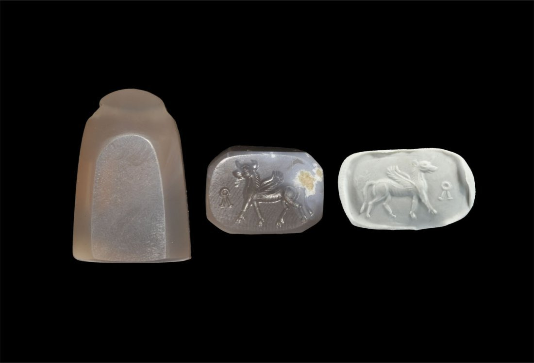 Near Eastern Stone Winged Bull Stamp Seal