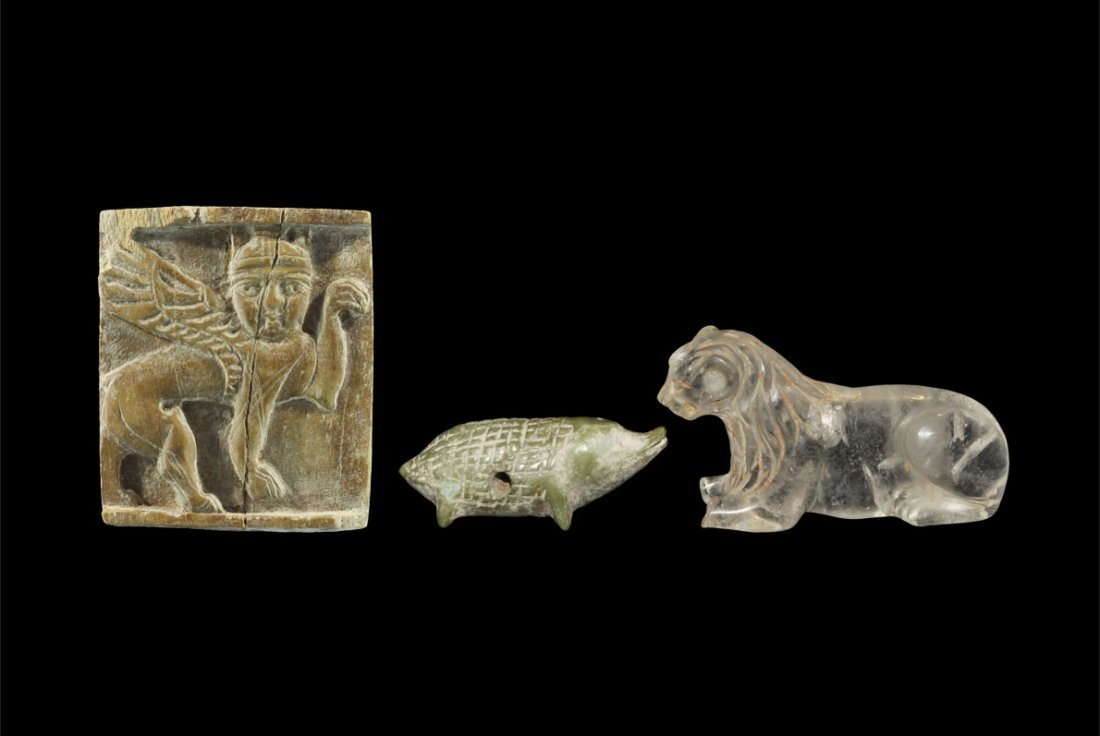 Near Eastern Assyrian Style Carved Bone and Crystal Gro