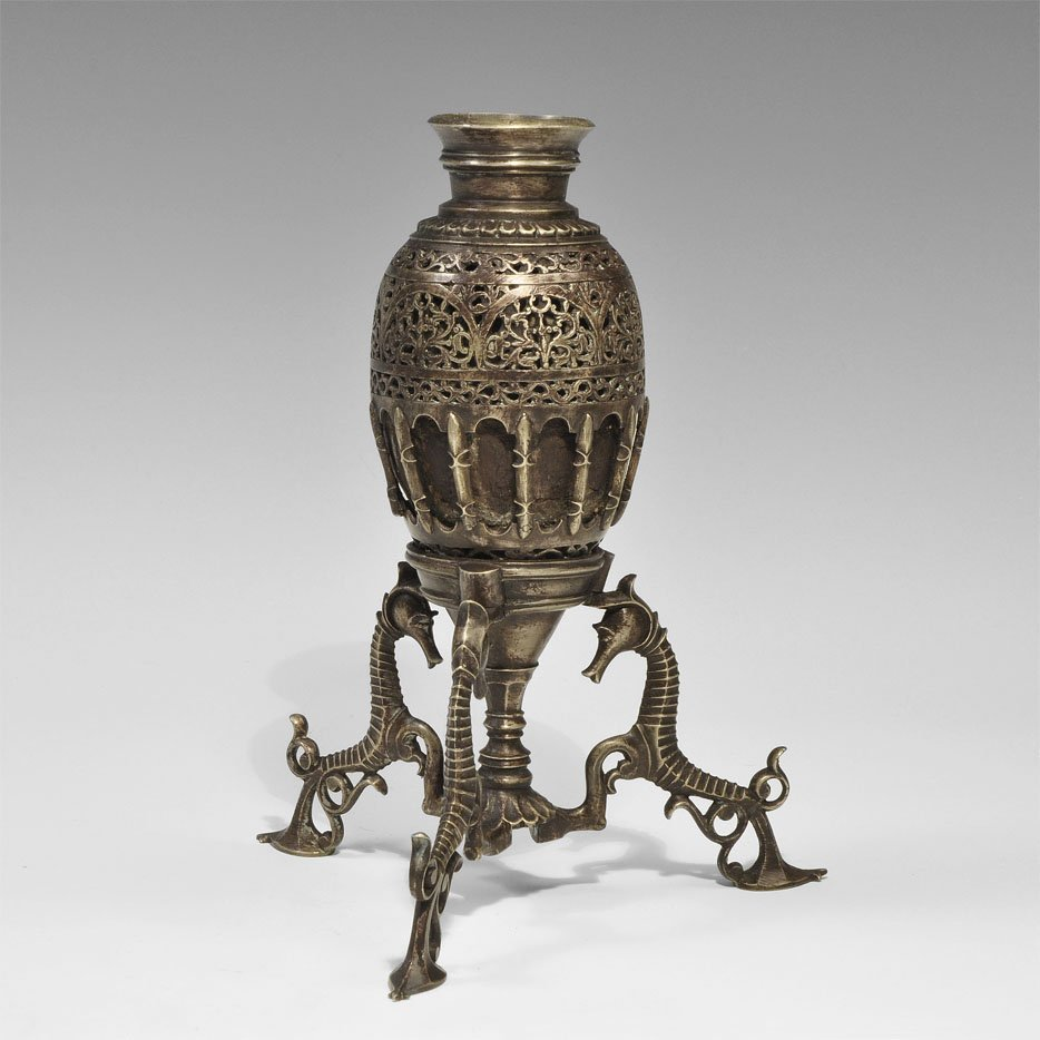 Silvered Bronze Hookah Base with Coconut