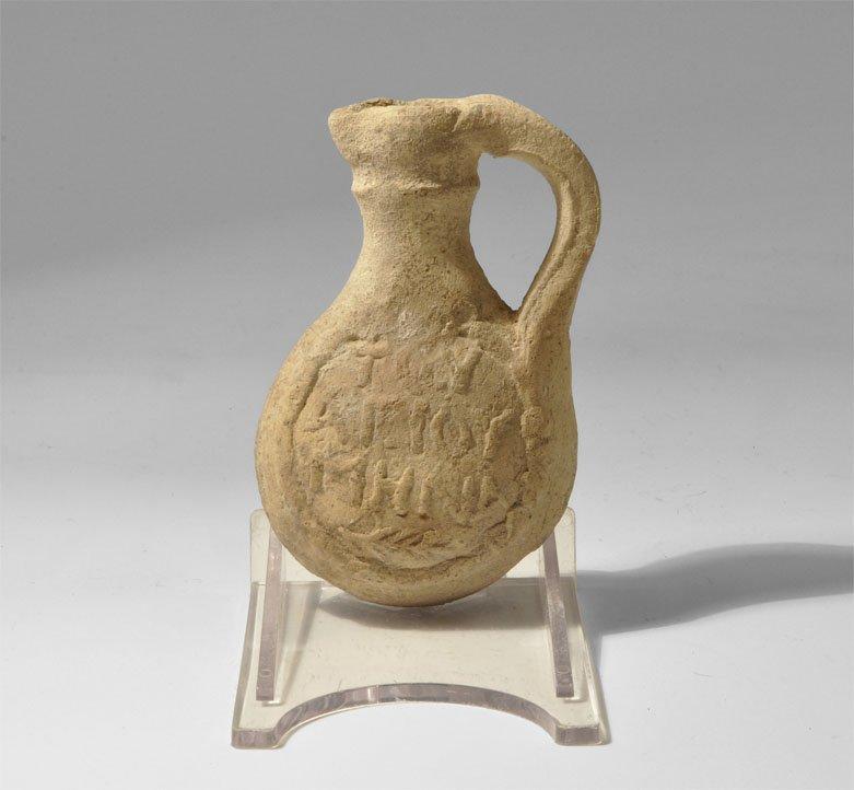 Byzantine Ceramic Inscribed St. Menos Pilgrim Flask