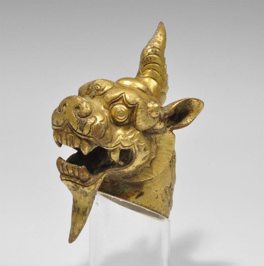 Chinese Gilt Bronze Han Style Dragon's Head Censer Cove