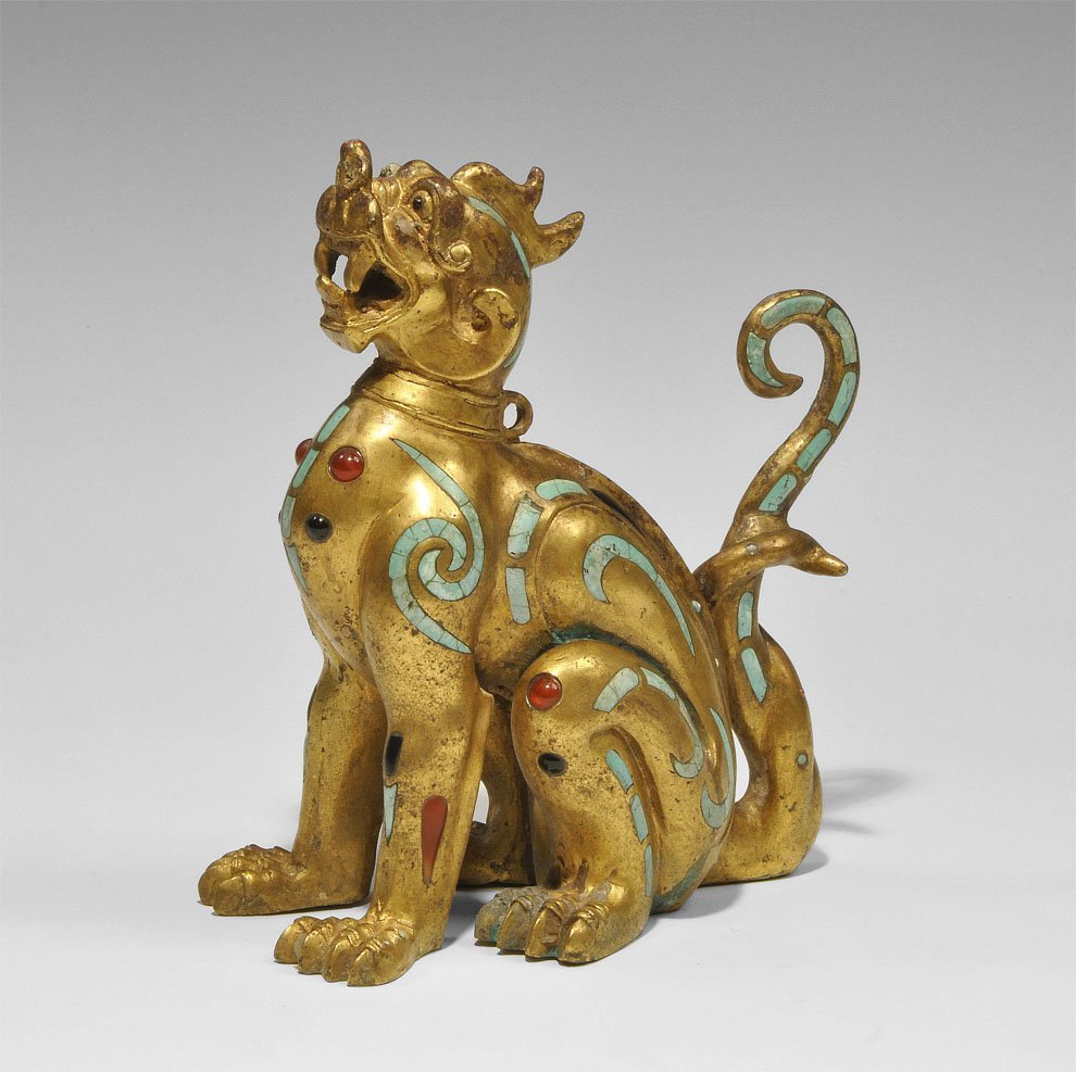 Chinese Gilt Bronze Han Style Turquoise-Inlaid Beast