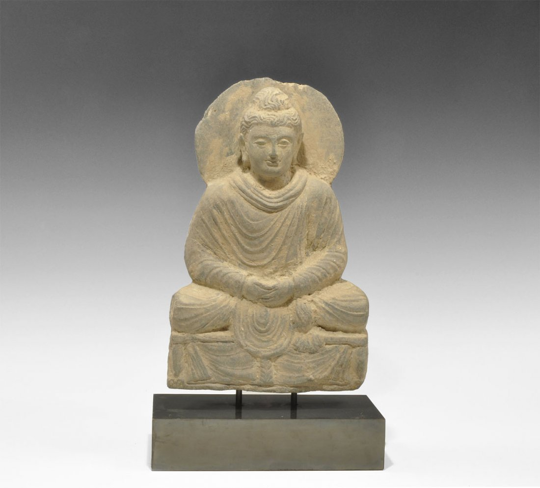 Gandharan Stone Seated Buddha Figurine