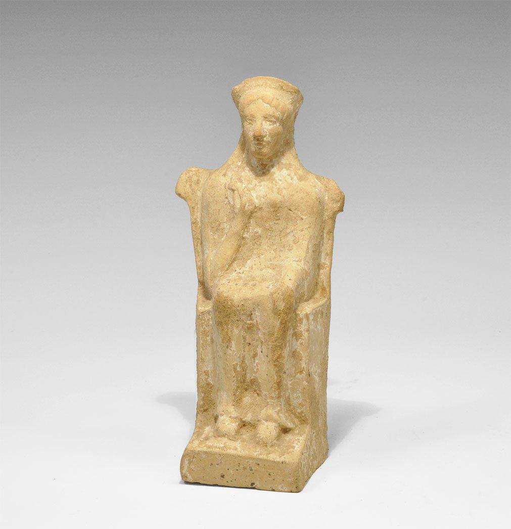 Greek Ceramic Seated Female Figurine