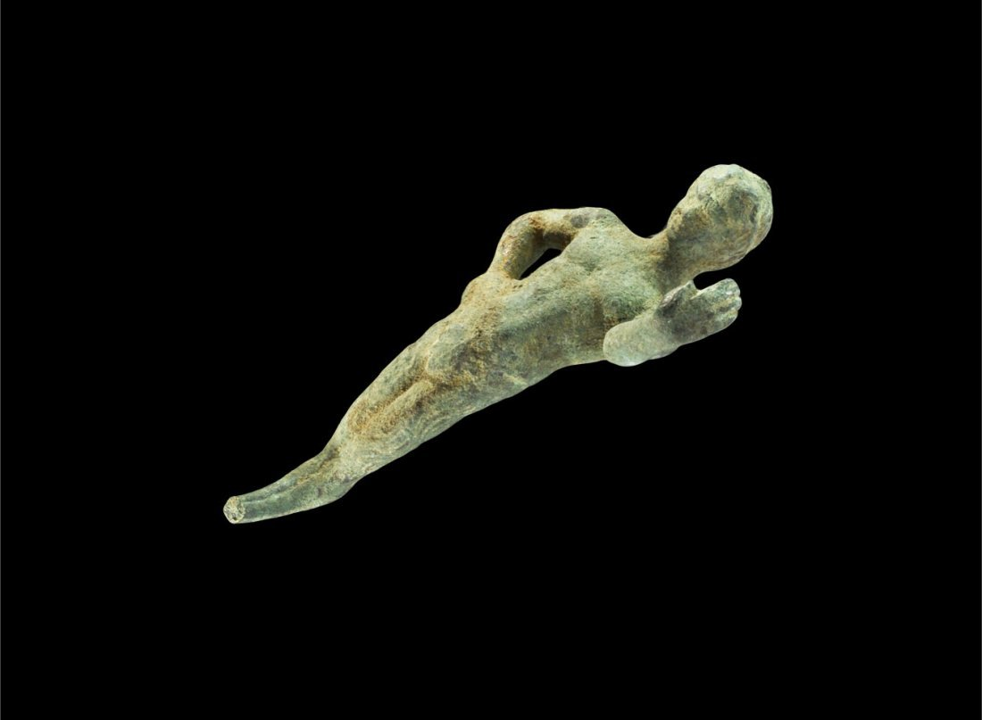 Roman Bronze Satyr Figurine Handle