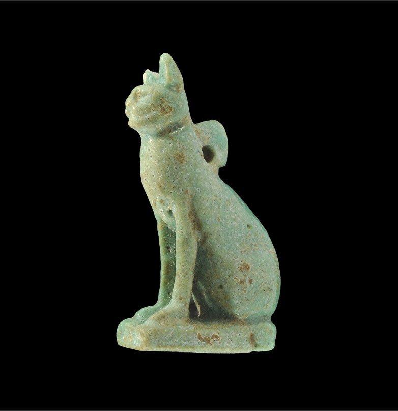 Egyptian Faience Bastet Amulet