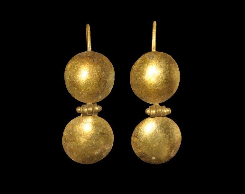 Byzantine Gold Double-Disc Earrings
