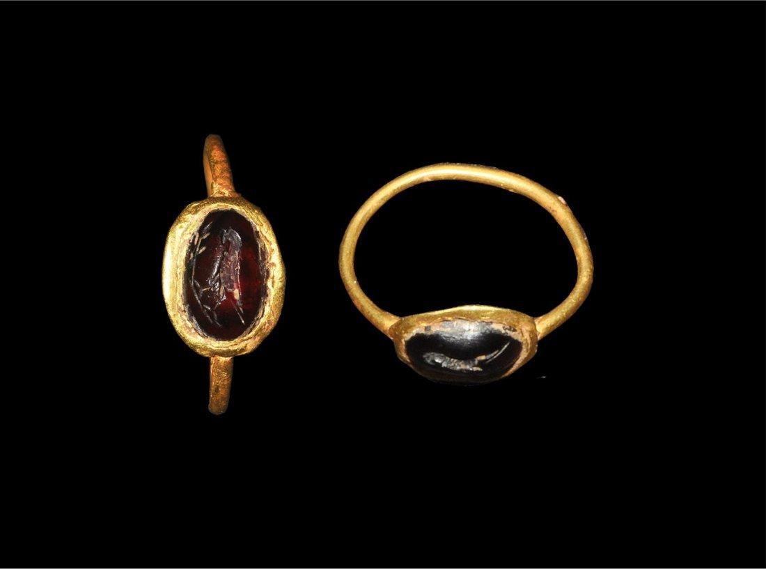 Roman Gold and Intaglio Garnet Ring