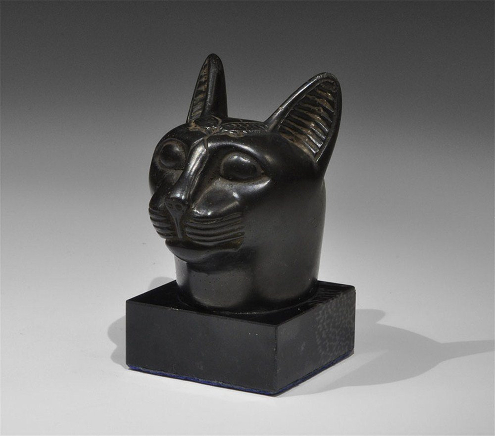 Egyptian Style Black Basalt Cat Head Figure