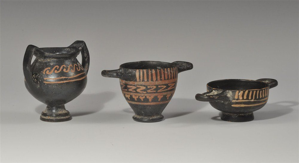 Greek Xenon Ware Ceramic Miniatures Group