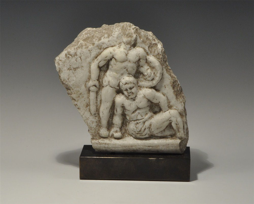 Roman Marble Fallen Gladiator Frieze Fragment