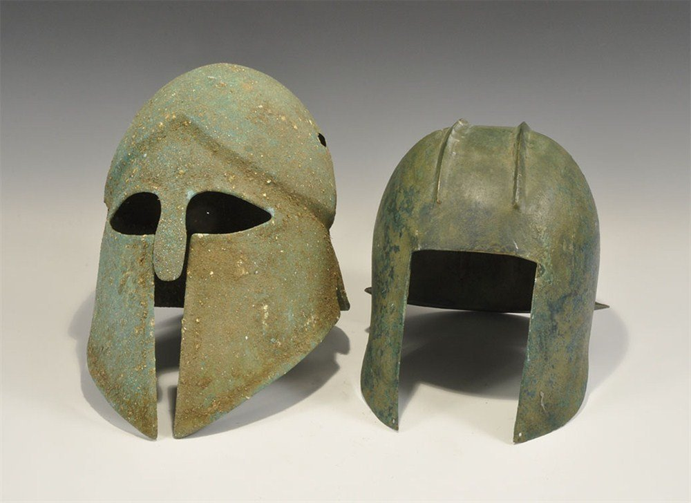 Greek Style Bronze Helmet Group
