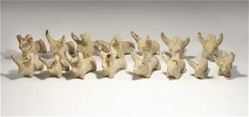 Near Eastern Sumerian Style Ceramic Bull Figurine Group