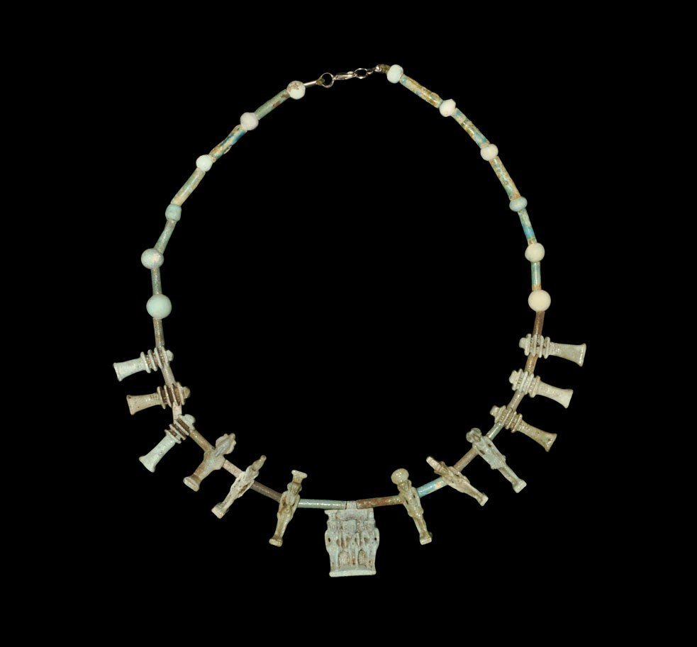 Egyptian Faience Bead and Amulet Necklace