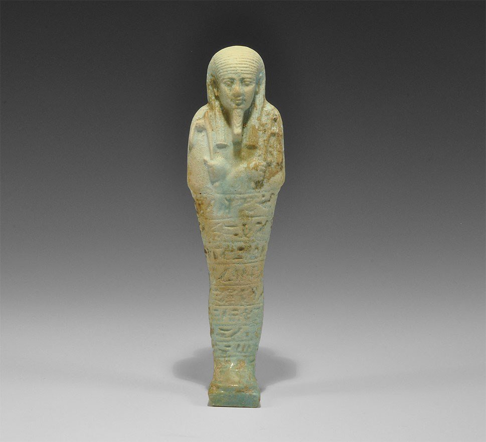 Egyptian Large Faience Turquoise-Glazed Shabti