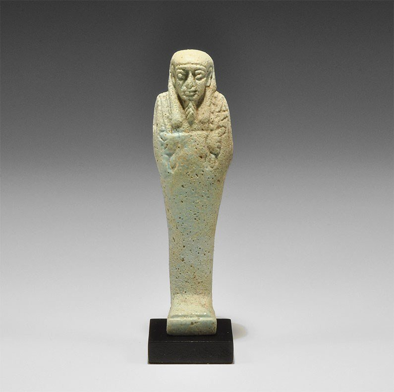 Egyptian Faience Blue-Glazed Faience Shabti