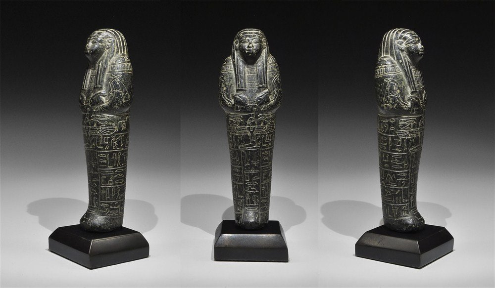 Egyptian Fine Black Serpentine Shabti