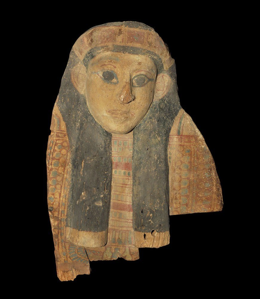 Egyptian Wooden Painted Mummy Mask