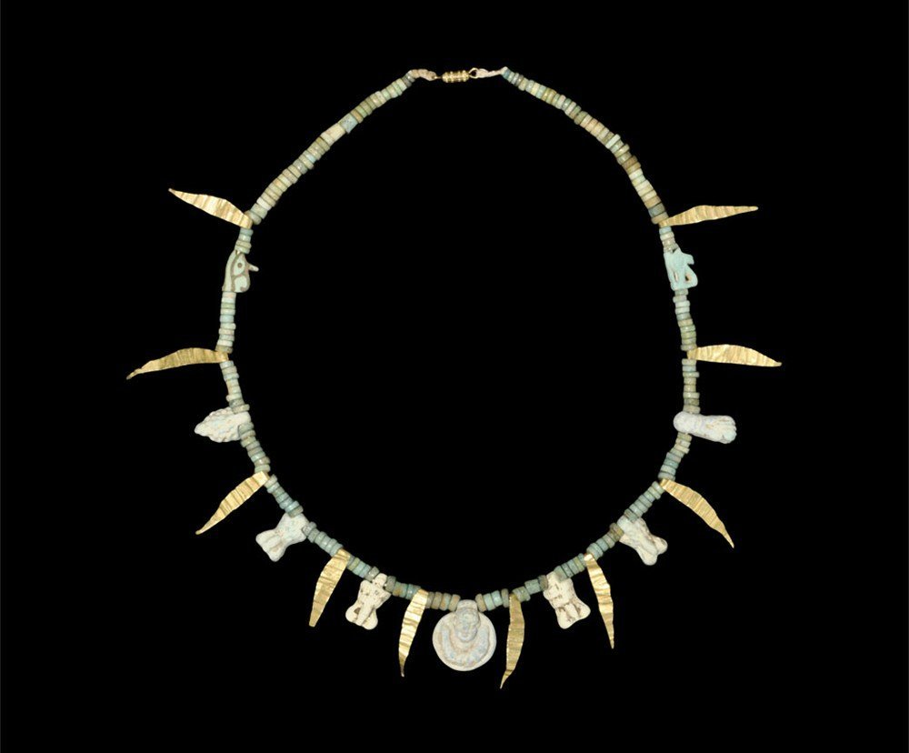 Egyptian Faience and Gold Amulet Necklace