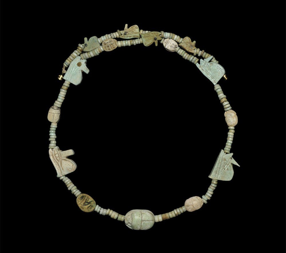 Egyptian Faience Scarab and Wedjat Eye Necklace