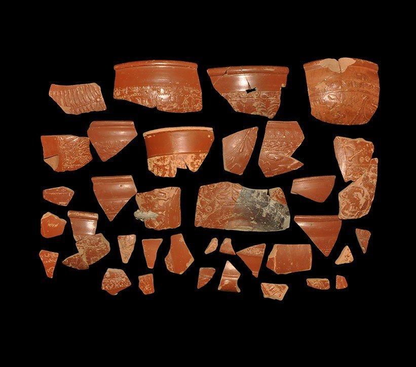 Roman Decorated Samian Ware Pottery Shard Group