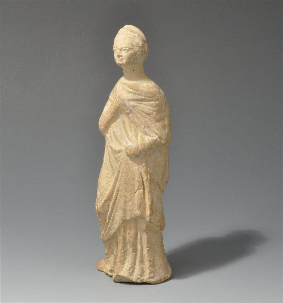 Greek Terracotta Female Tanagra Figurine