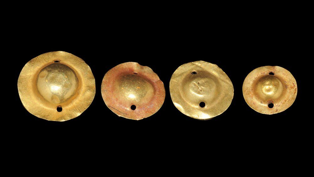 Greek Group of Four Gold Disc Mounts or Ornaments