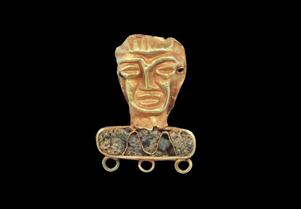 Near Eastern Scythian Gold Face Ornament with Inlay