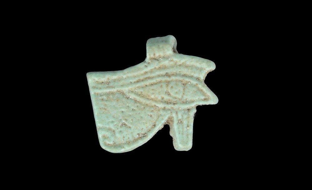 Egyptian Turquoise-Glazed Eye of Horus Amulet Pendant