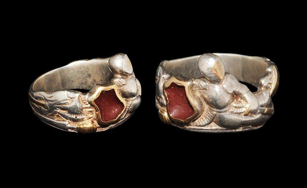 Post Medieval Silver Reclining Knight Finger Ring