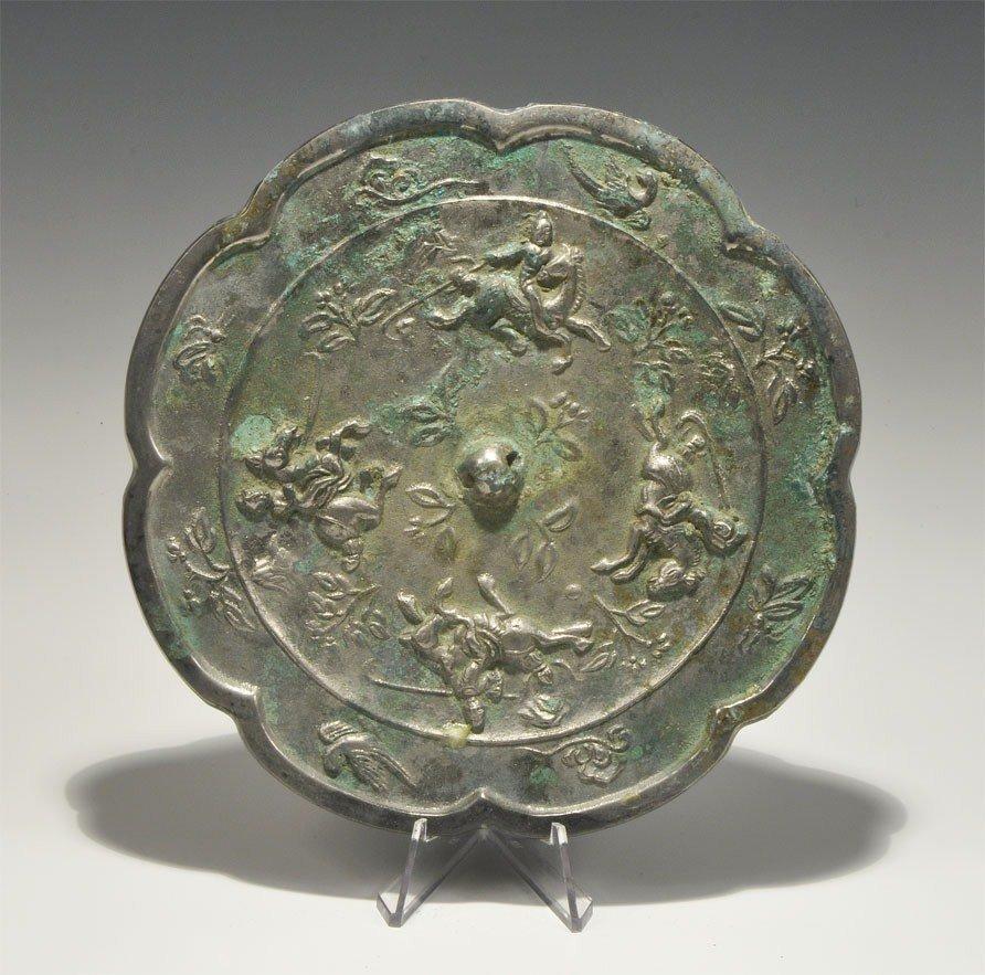 Chinese Style Tinned Bronze Mirror
