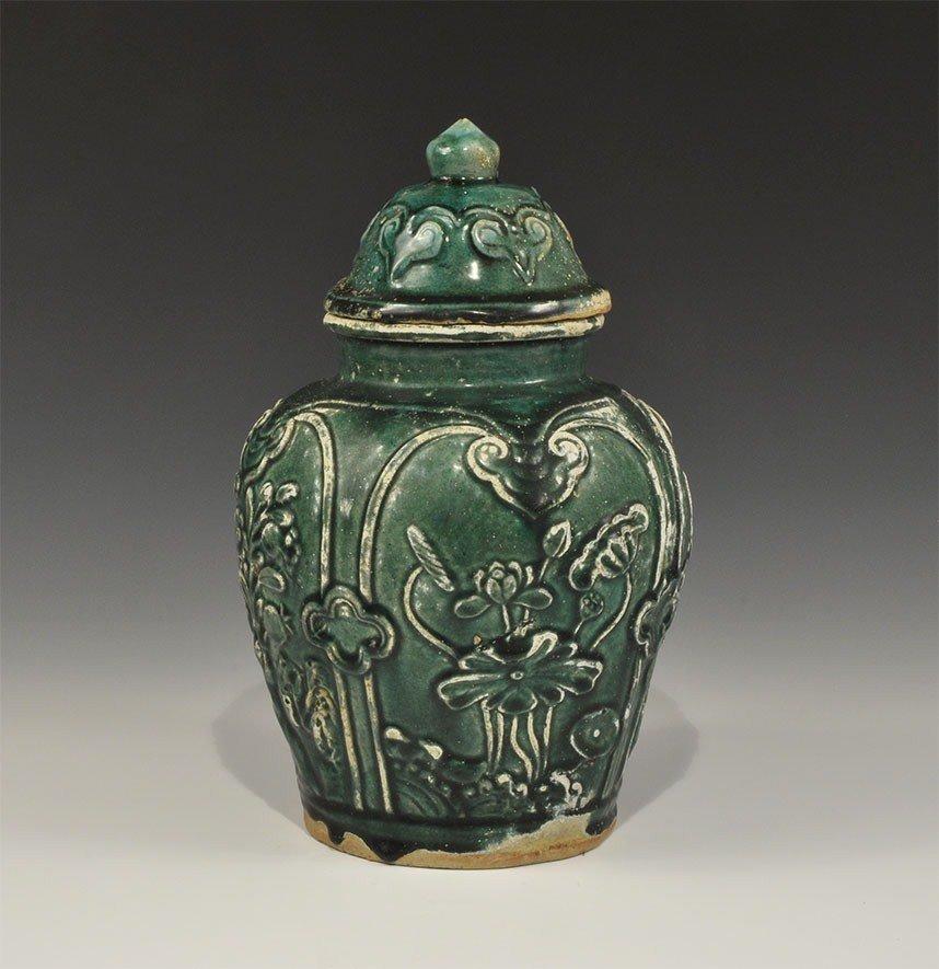 Chinese Ceramic Green-Glazed Lidded Jar