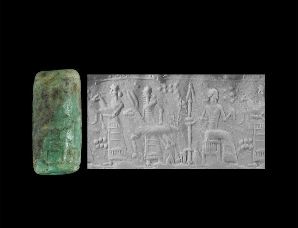 Near Eastern Mesopotamian Style Emerald Plasma Cylinder
