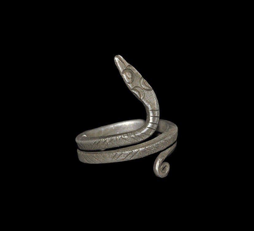 Roman Alexandrian Silver Serpent Ring
