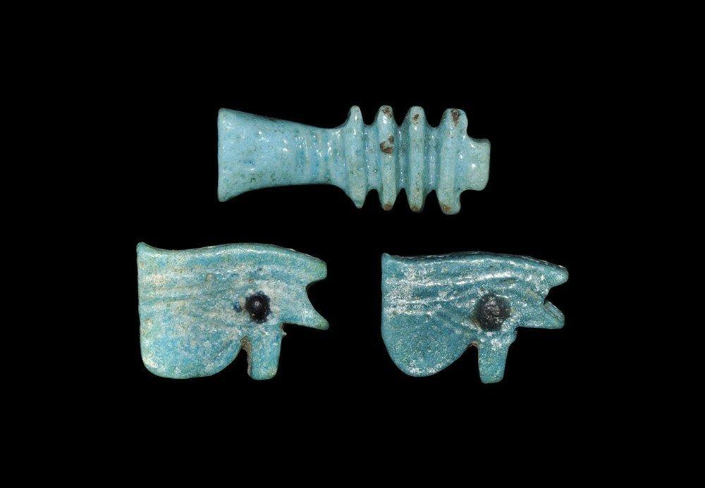 Egyptian Glazed Composition Amulet Group