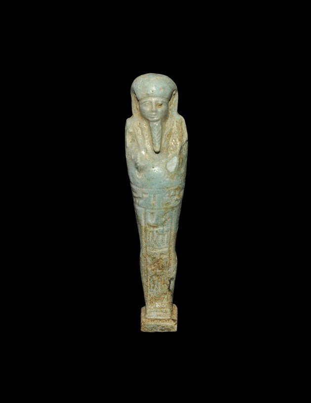 Egyptian Blue-Glazed Hieroglyphic Shabti