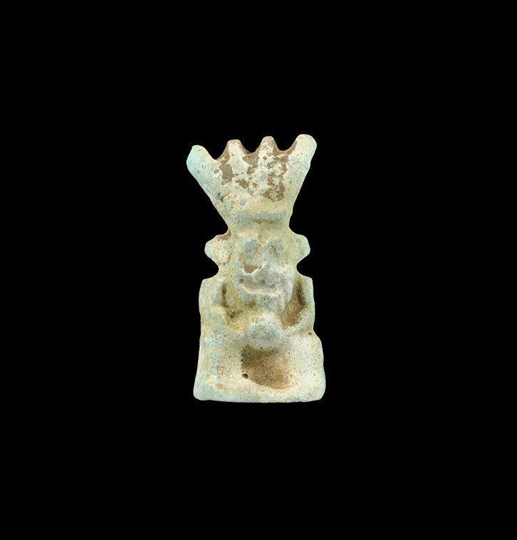 Egyptian Glazed Composition Bes Amulet